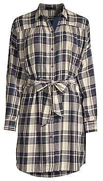 ATM Anthony Thomas Melillo Women's Plaid Tie-Waist Shirt Dress