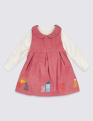 Marks and Spencer 2 Piece Embroidered Cord Dress & Bodysuit