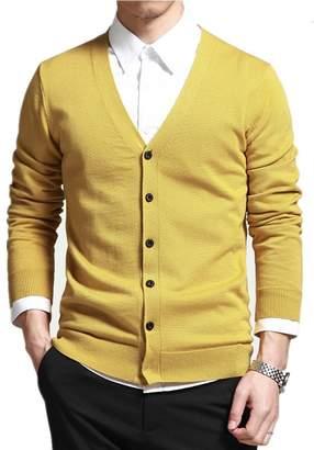 Mullsan Men's Slim Fit Stylish Button Down V-Neck Cardigan