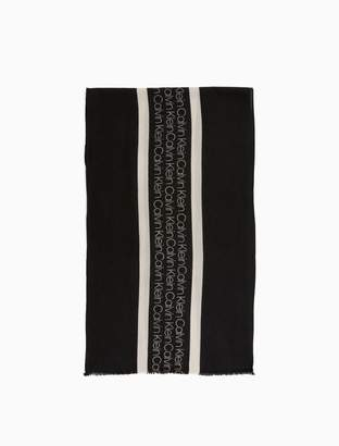 Calvin Klein logo stripe wool racer scarf