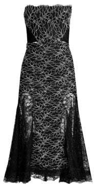Alexis Ornella Strapless Lace Midi Dress