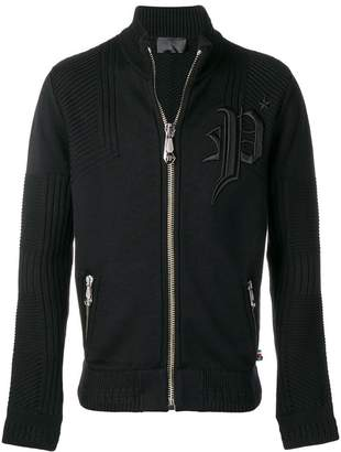 Philipp Plein logo embroidered knitted track jacket