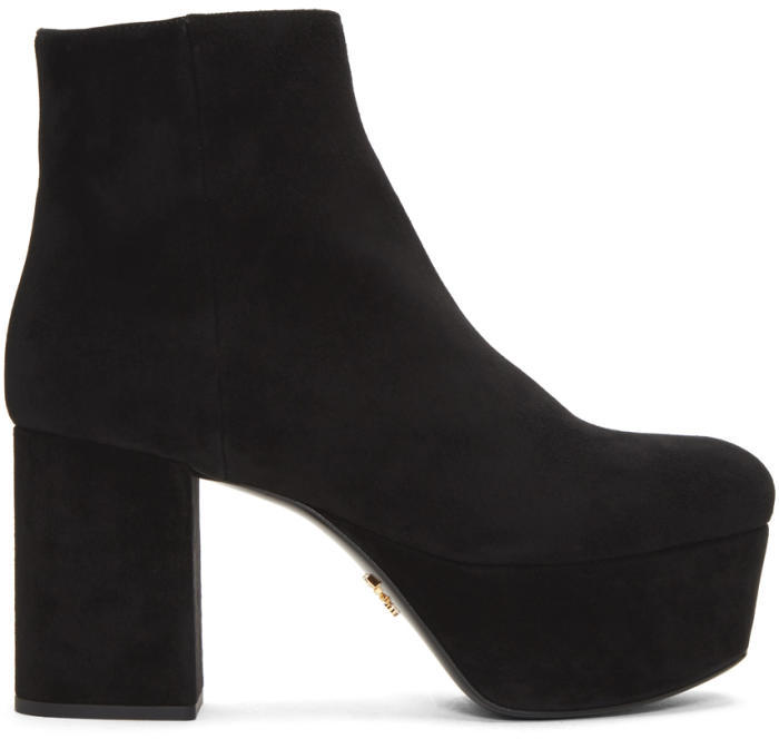 Prada Black Suede Platform Boots