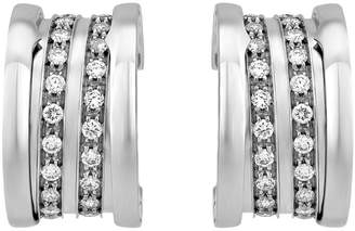 Bvlgari B.Zero1 18k White Gold Pave Diamond Hoop Earrings