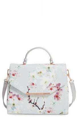 Ted Baker London Large Cherry Blossom Faux Leather Top Handle Satchel - Grey $209 thestylecure.com