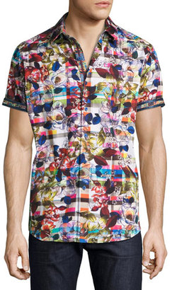 Robert Graham Floral-Print Short-Sleeve Sport Shirt, Multicolor $228 thestylecure.com