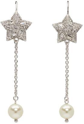 Miu Miu Silver and White Crystal Star Long Earrings