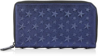 Jimmy Choo CARNABY Navy Metallic Nappa Leather Travel Wallet with Embossed Stars