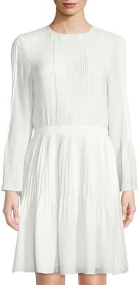 Oscar de la Renta Pleated Silk Bell-Sleeve Dress