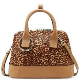 Vince Camuto Kimi Leopard-Print Calf Hair & Leather Satchel