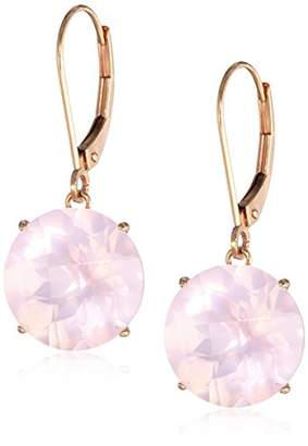 14k Rose Gold Leverback with 12mm Rose Quartz Drop Earrings