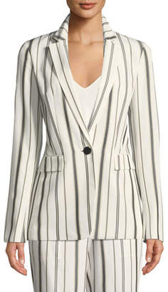 Lafayette 148 New York Marie Gallant-Striped One-Button Blazer