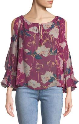 Ella Moss Floral Haze Cold-Shoulder Top