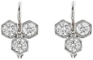 Cathy Waterman Triple Diamond Hexagonal Earrings - Platinum