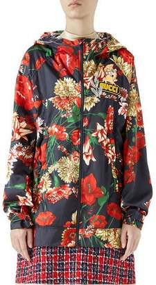 Gucci Zip-Front Hooded Spring Floral-Bouquet Print Nylon Jacket w/ Logo Patch
