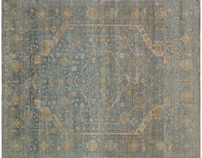 Beckett Hand-Knotted Rug - Gold/Blue - 12'x18'