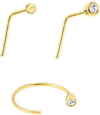 Bodifine 10K Gold Set of 3 Cz Nose Studs and Hoop