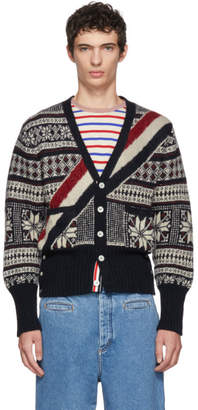 Thom Browne Navy and Red Winter Fairisle Cardigan