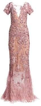 Murad Zuhair Beaded Feather Mermaid Gown