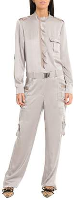 b4a531f476f4 RED Valentino Fluid Satin Cargo Style Jumpsuit With Ruffle