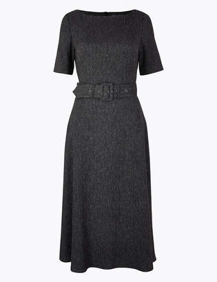 Marks and Spencer Belted Herringbone Fit & Flare Midi Dress