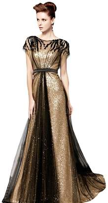 YOUAREFACNY Women's Sequins A line Formal Gowns High Neck Beaded Long Party Dress
