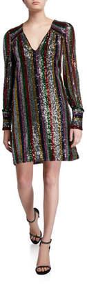 Milly Lylah Rainbow Multistripe Sequin V-Neck Blouson-Sleeve Dress