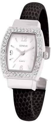 EWatchFactory Women's 0914BG0004 April Birthstone Simulated Leather Bangle Cuff Watch