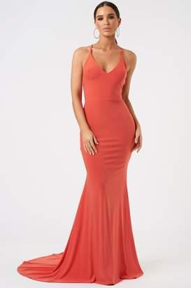 Club L Womens **Cross Back Fishtail Maxi Dress By Orange