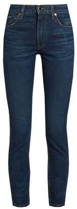 Khaite - Kassandra Mid Rise Skinny Leg Jeans - Womens - Dark Denim