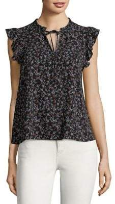 Highline Collective Ruffle Trim Sleeveless Top with Front Tie