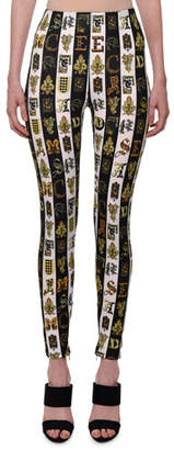 Versace Letter-Print Striped Stretch Leggings