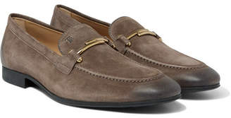 Tod's Burnished-Suede Loafers - Taupe