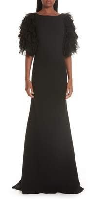 Badgley Mischka Tiered Feather Evening Dress