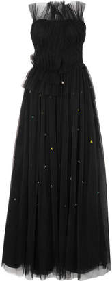 Jason Wu Strapless Embellished Plissé-tulle Gown - Black