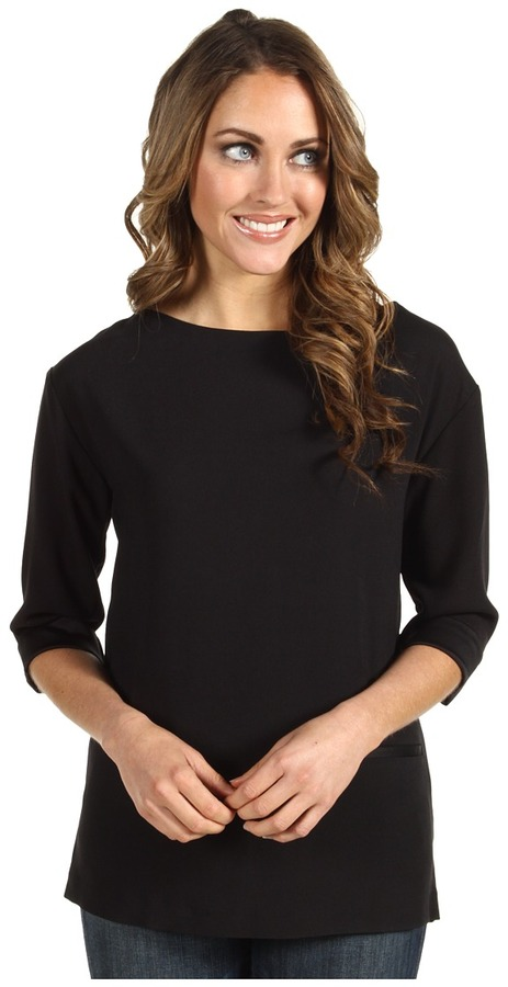 Lacoste 3/4 Sleeve Pleated Crepe Tunic Top Women's Clothing