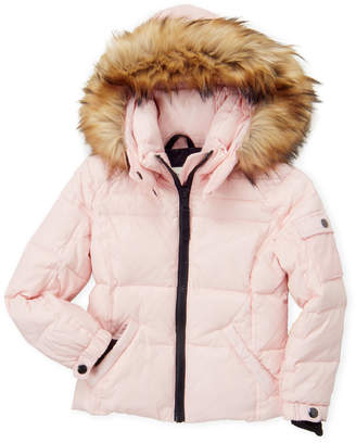 S13 Girls 4-6x) Mogul Faux Fur-Trimmed Hooded Down Coat