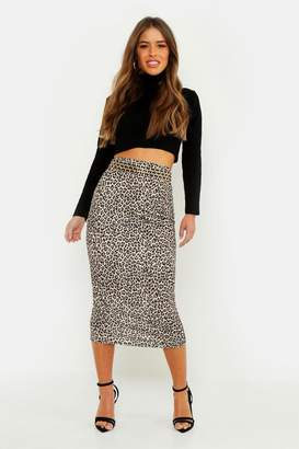 boohoo Petite Leopard Print Midaxi Skirt