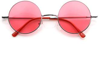 Zerouv Lennon Style Round Circle Metal Sunglasses w/ Color Lens Tint