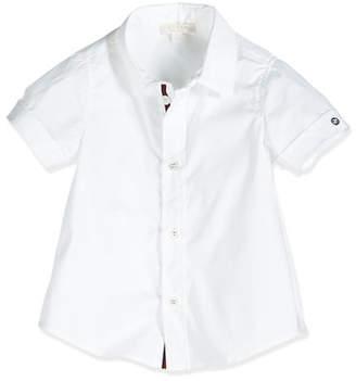Gucci Short-Sleeve Poplin Shirt, White, Size 0-36 Months