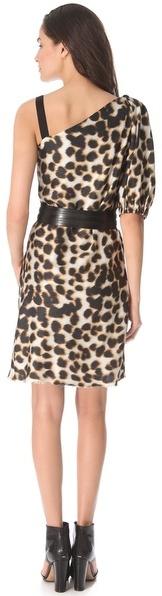 David Szeto One Shoulder Leopard Dress