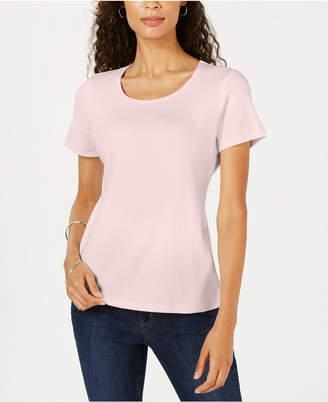 Karen Scott Short Sleeve Scoop Neck Top