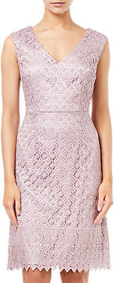 Adrianna Papell Short Guipure Lace Dress, Pink Sateen