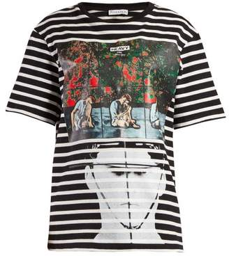 J.W.Anderson X Gilbert & George Print Striped T Shirt - Womens - Black Multi