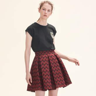 Maje Bonded lace skater skirt
