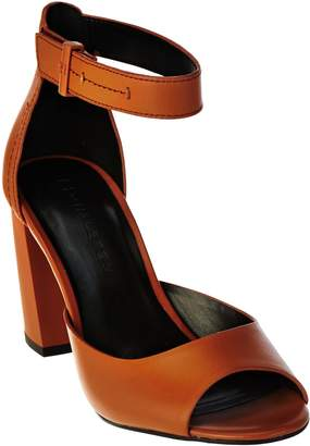 Halston H By H by Leather Block Heels with Adjustable Strap - Carina