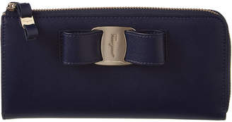 Salvatore Ferragamo Miss Vara Bow Leather Zip Around Wallet