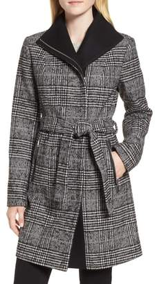 Tahari Eva Plaid Wrap Coat