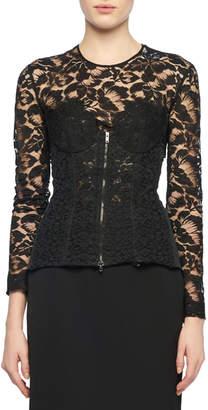 Stella McCartney Long-Sleeve Zip-Front Lace Bustier Top