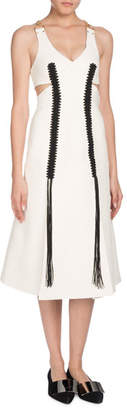 Proenza Schouler V-Neck Sleeveless Chain-Straps A-Line Plonge Leather Dress w/ Crochet Detail